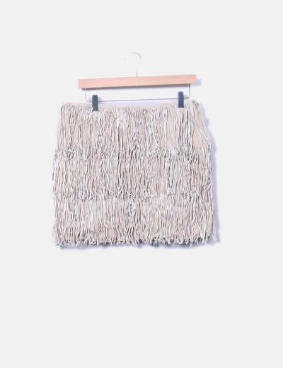 Minifalda de piel beige con flecos Sinéquanone