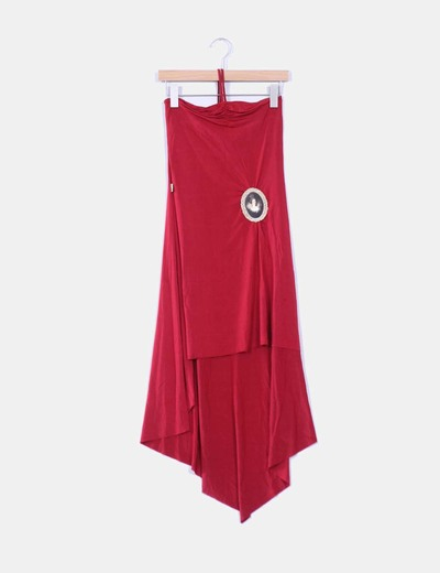 Vestido rojo asimétrico detalle parche  Moschino
