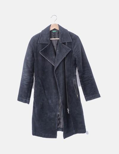 Abrigo largo azul marino con cremallera
