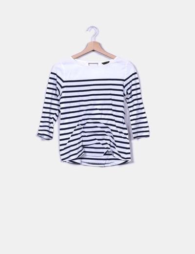 Camiseta blanca con raya azul marino Massimo Dutti