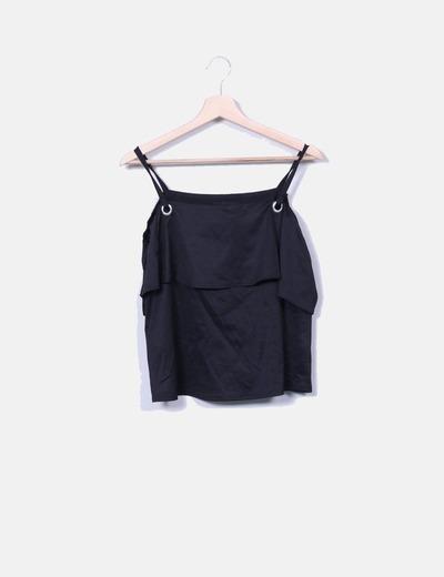7a21bdd267d9 Atmosphere T-shirt noir avec volant (réduction 76%) - Micolet