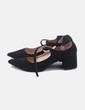 Zapato negro tiras cruzadas Bershka