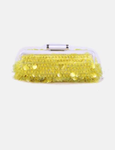 Bolso de mano amarillo con abalorios