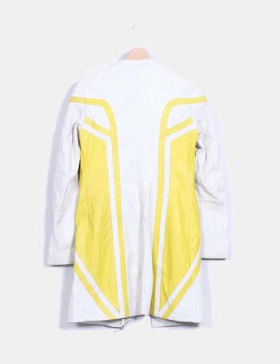 Chaqueta de piel beige rayas amarillas