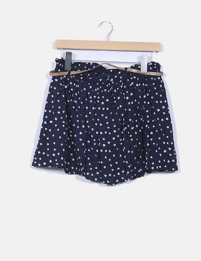Mini falda azul con topos