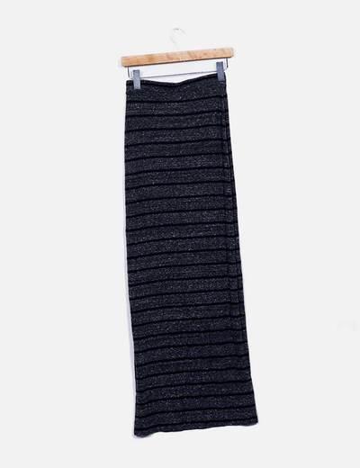 Maxi falda punto rayas
