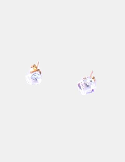 Pendientes brillante cristal forma cubo NoName