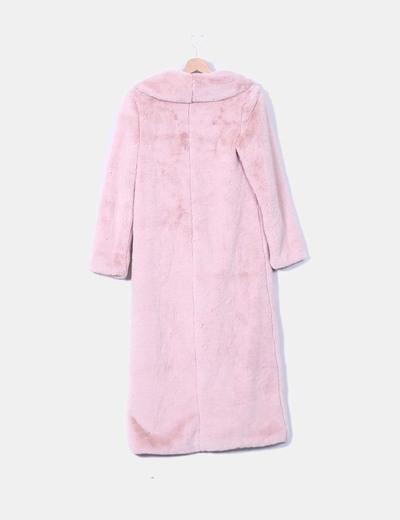 Abrigo largo de pelo rosa