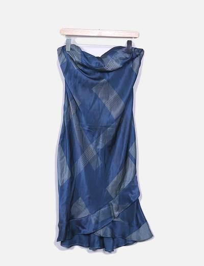 Conjunto vestido y chal azul satinado