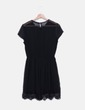 Vestido de gasa negro con encaje Zara