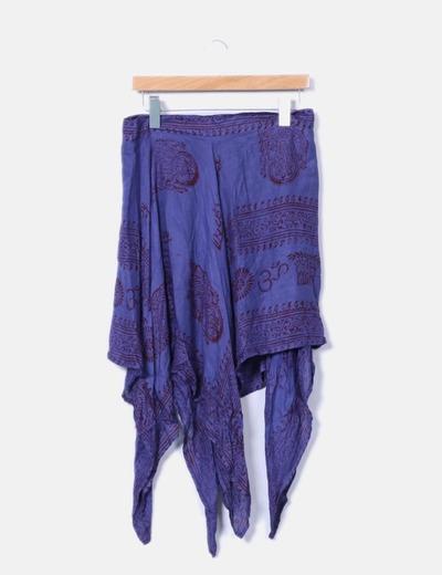 Falda asimétrica azul estampada NoName
