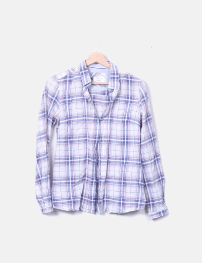 Camisa blanca print cuadros azul