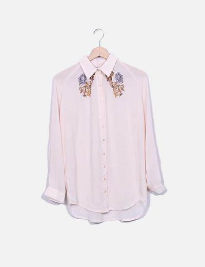 Blusa nude estampada Thirty Seven