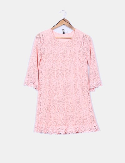Vestido crochet salmón H&M