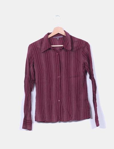 Camisa granate a rayas Zara