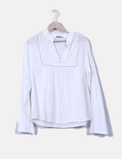 Blusa blanca drapeada Stradivarius