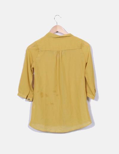 Blusa mostaza semitransparente