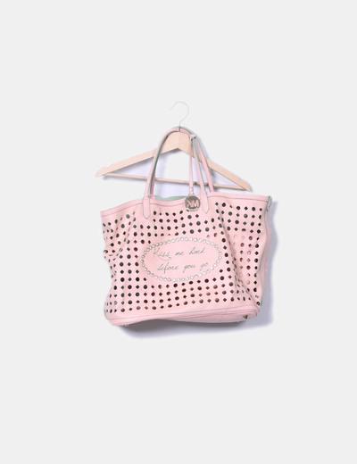 Bolso shopper rosa troquelada