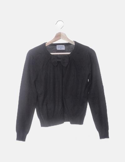 Chaqueta tricot negra con lazo