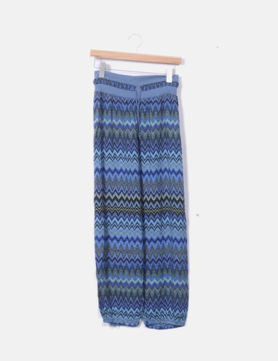 Pantalón baggy azul estampado