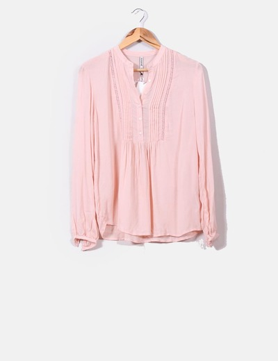 Productos auténtica venta caliente calidad autentica Blusa rosa palo texturizada
