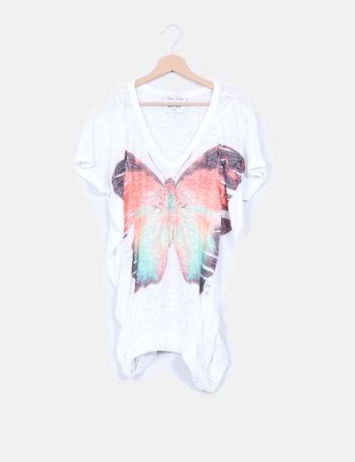 Top blanco print manga mariposa Denny Rose