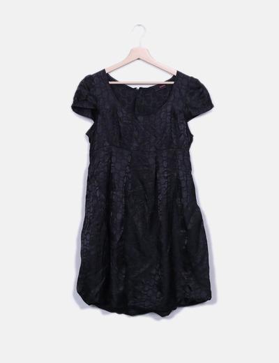 Vestido satén negro estampado Zoul.