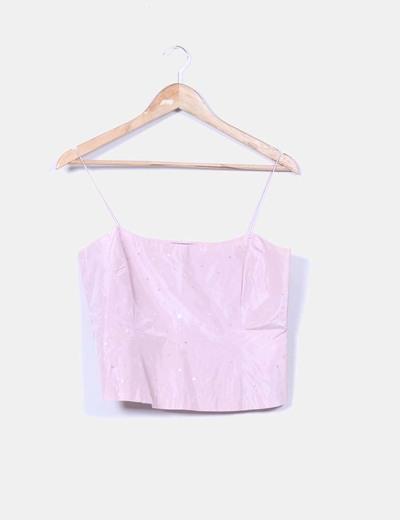 Top rosa de seda con paillettes Massimo Dutti
