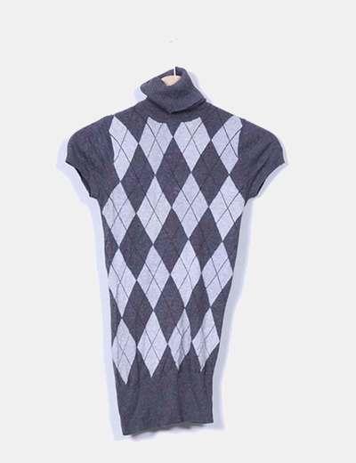 Top tricot gris rombos canalé Bershka