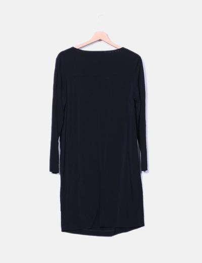 Vestido negro viscoso cuello baboso