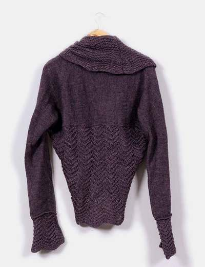 Cardigan irregular color violeta