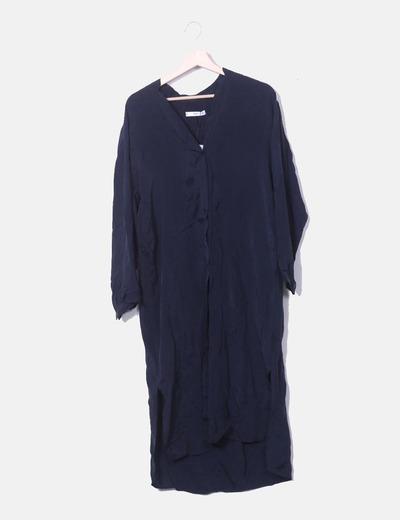 Vestido camisero satén azul marino