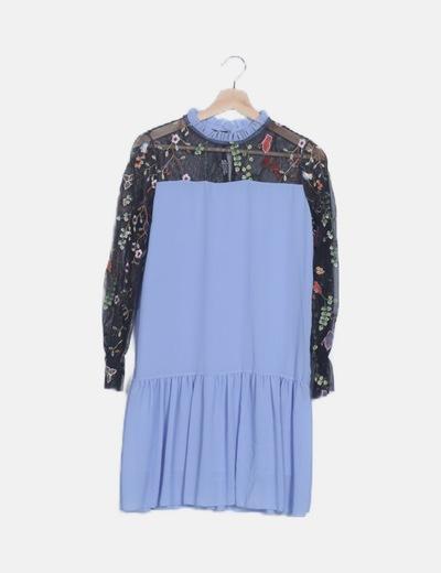 Vestido gasa azul bordado floral