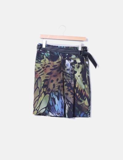 Falda animal print con cinturón de polipiel Andamio