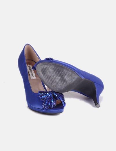 4e38b9dcb03 Pilar Burgos Zapato azul eléctrico satinado con pedrería (descuento ...