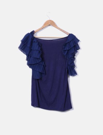 Camiseta azul marino mangas plisadas