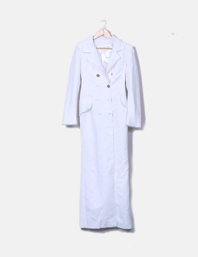 Abrigo largo satén blanco NoName