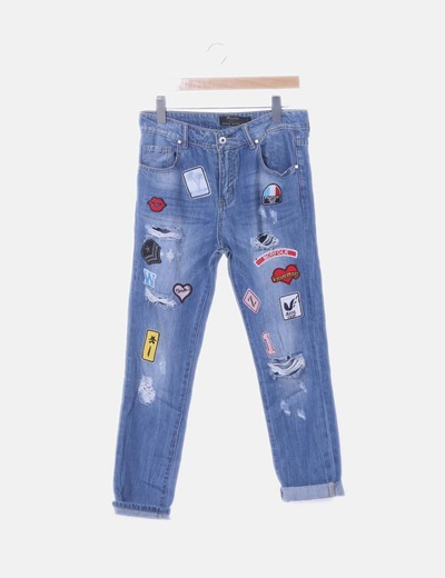 Jeans denim azul patchwork
