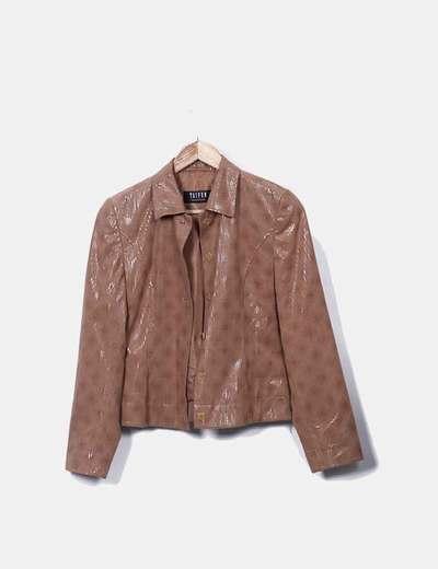 Blazer marrón estampado glitter