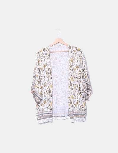 Kimono blanco print floral