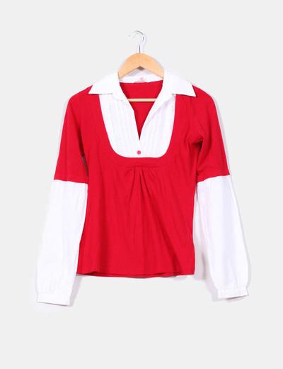 Polo rojo con cuello camisa Stradivarius