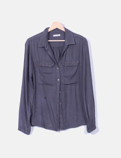 Camisa gris marengo con tachas Tex Woman