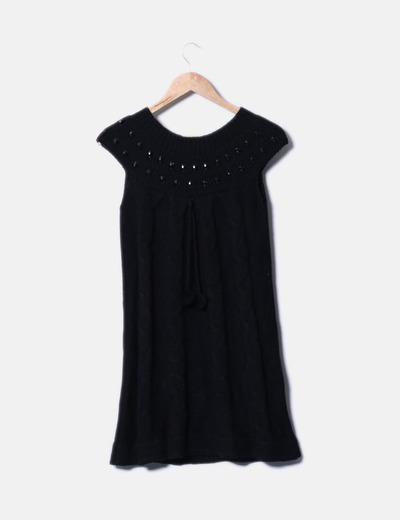 Vestido negro de punto con strass NoName