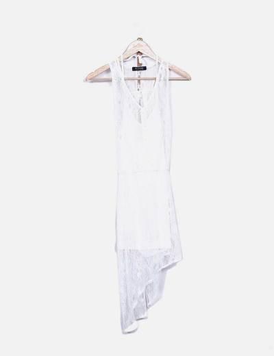 Vestido tail hem encaje blanco Romwe