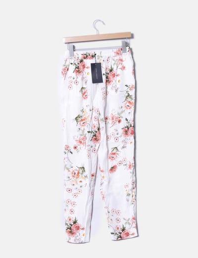 Pantalon baggy beige floral