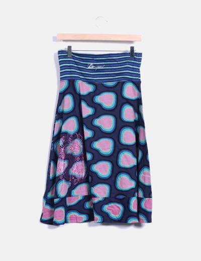 Falda estampada midi desigual