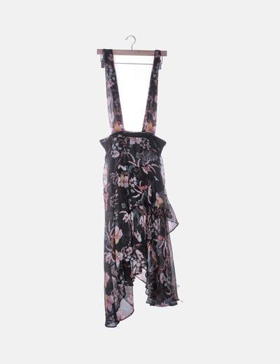 Falda gasa negra estampada con tirantes