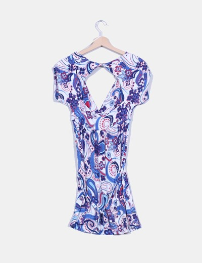 Vestido estampado flores azules escote en v