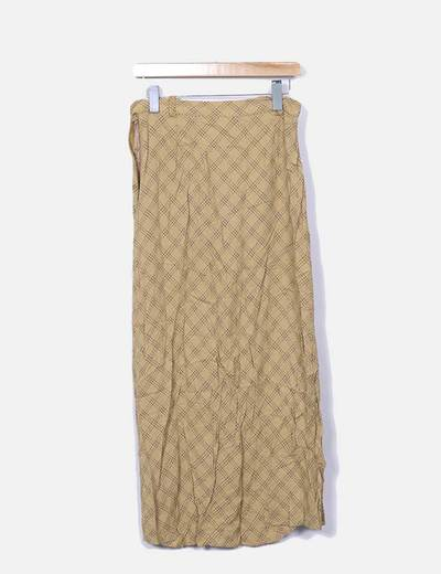 Falda maxi beige estampada