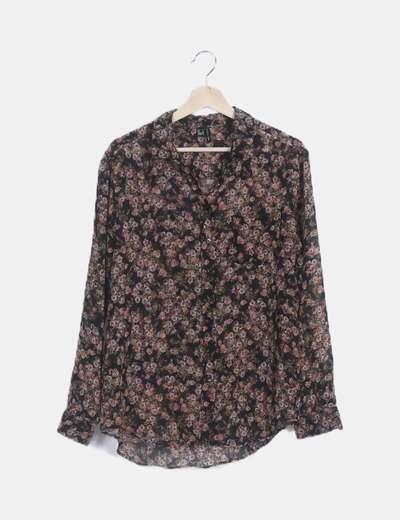 Camisa estampada floral semitransparente